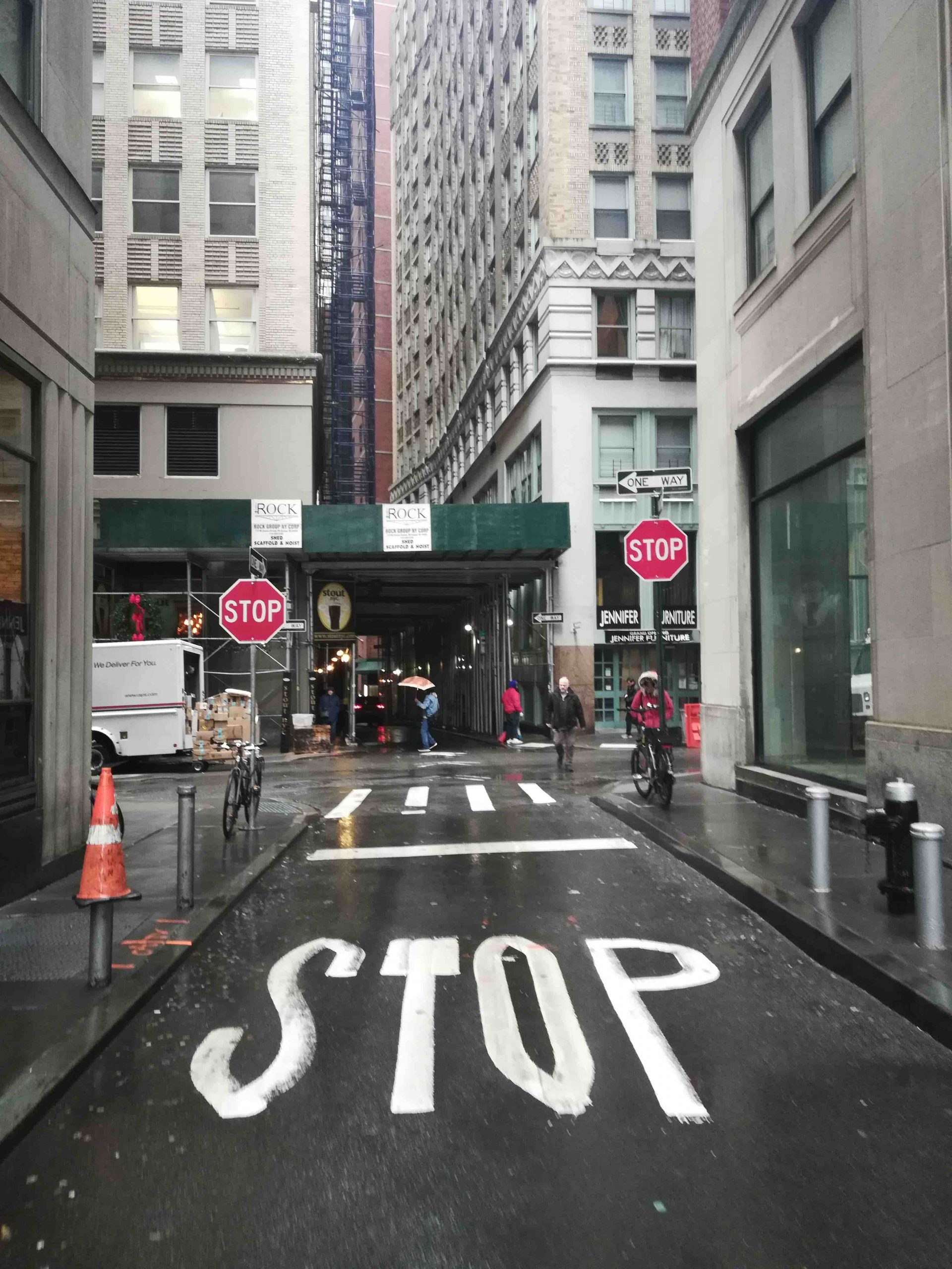 Stop sign NYC Moments Fidi