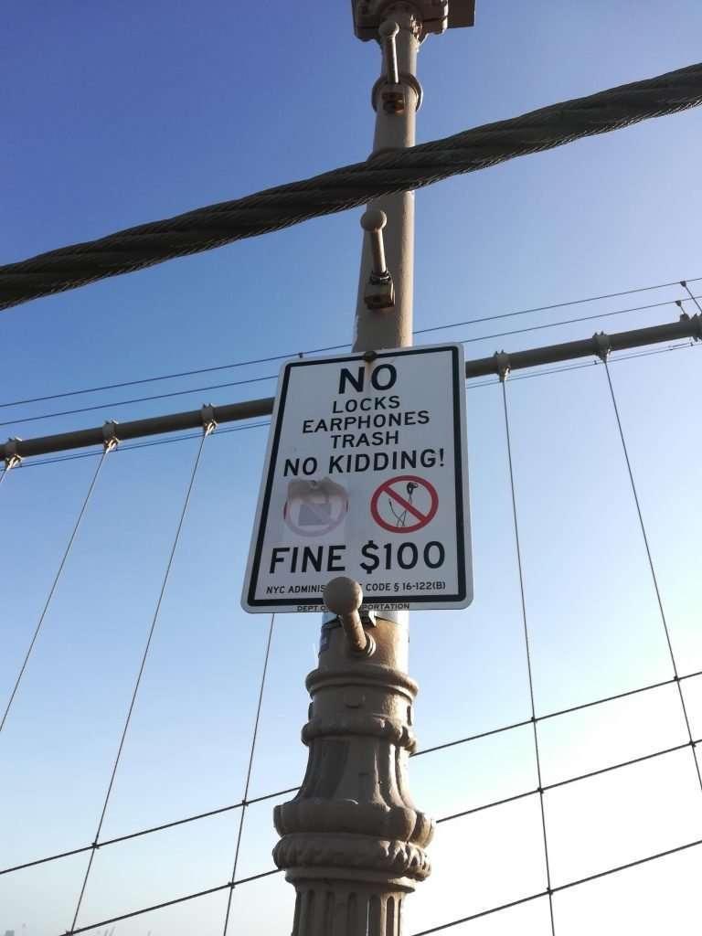 nyc moments brooklyn bridge no locks fine sign