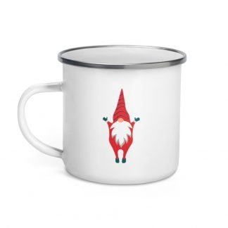 Happy Santa Jumping Xmas Coffee Enamel Mug