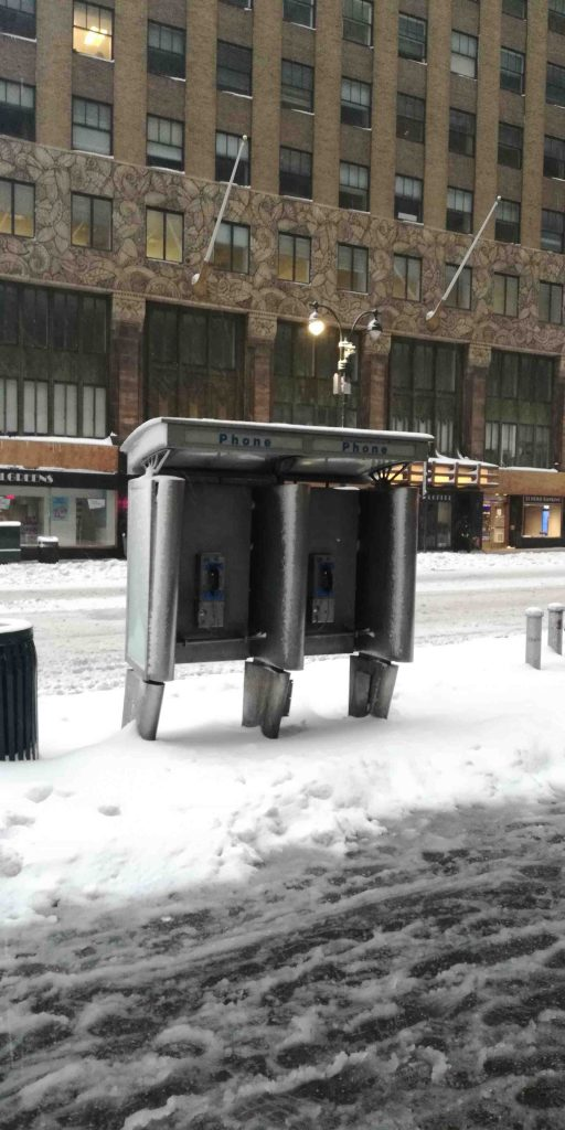 NYC snow storm 2021 phone booth