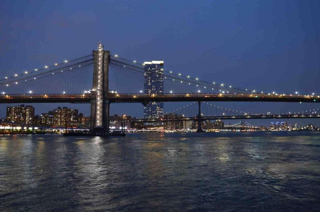 Brooklyn bridge view from Seaport NYC