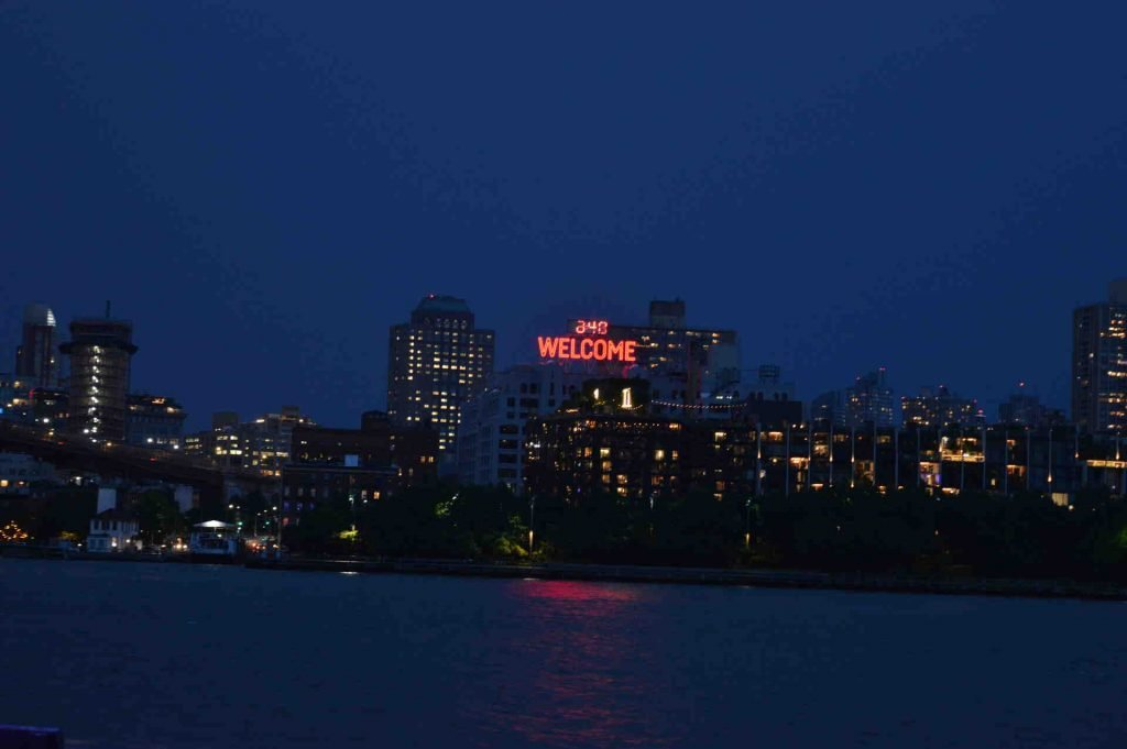 Welcome sign view from Seaport NYC